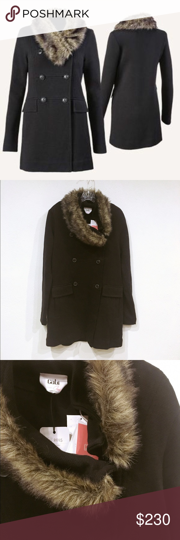 Cabi Manor Coat NWT. Removable fur collar. No trades. 1213 CAbi Jackets & Coats Pea Coats