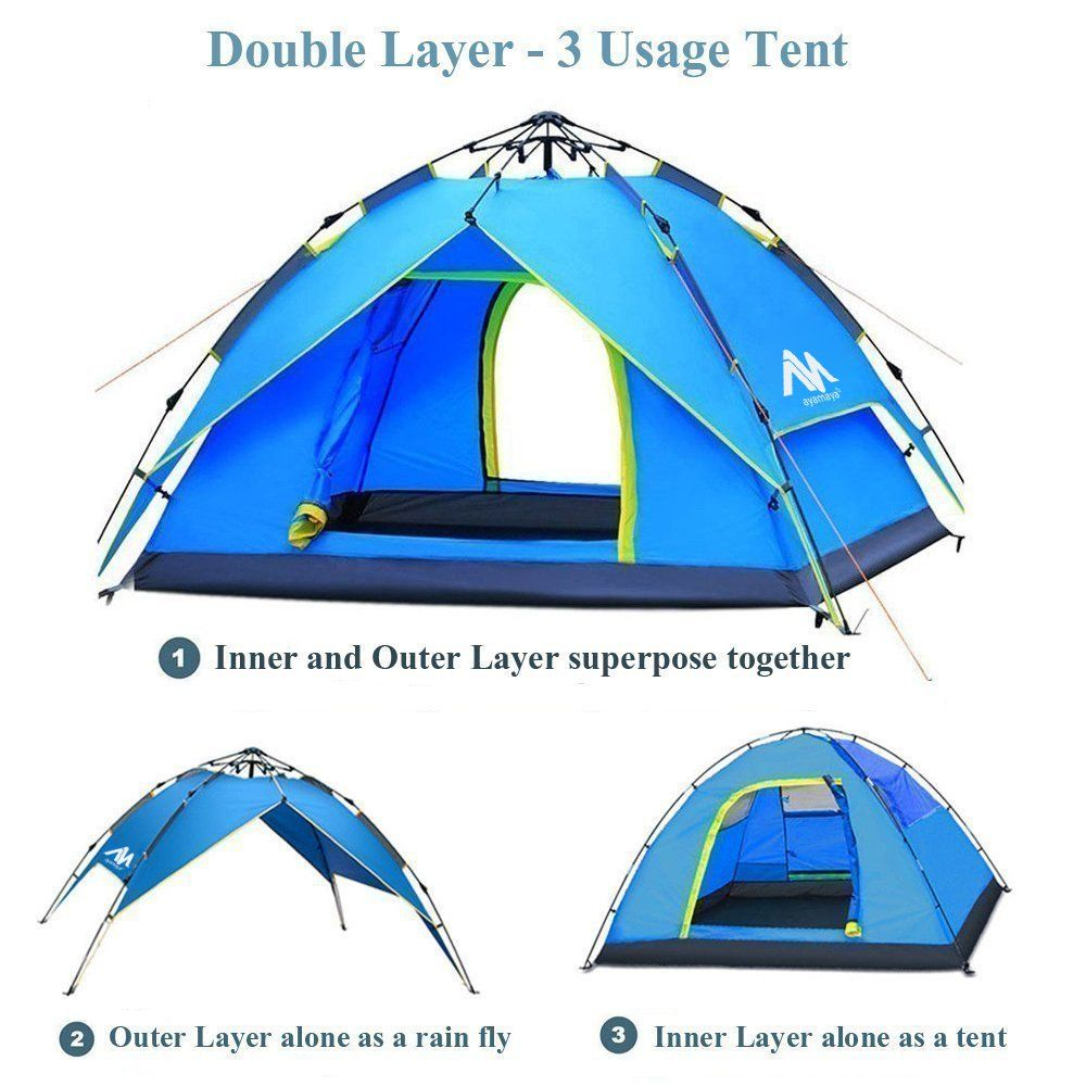 Waterproof Camping Tent 3-4 Person Dome Family Tunnel Tent Double Layer Canopy