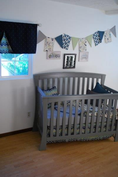 Grey Navy Aqua Green Chevron crib skirt and valance pleat with vintage car print blanket baby bedding