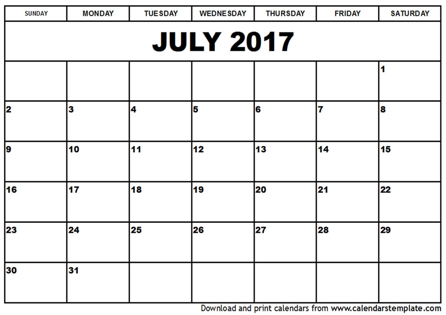 July 2017 Calendar Holidays pdf http://calendarprintablehub.com ...