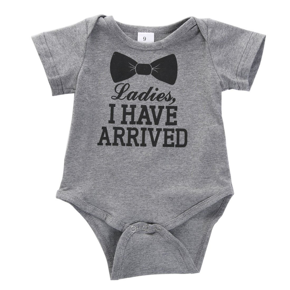 ce8b2576cfbb Newborn Baby Boys Girls Bowtie Short Sleeve Romper Bodysuit Playsuit  Outfits 03 Months Gray    You can get additional details at the image link.
