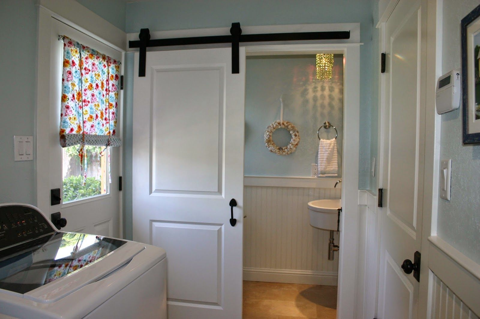 Home is where the heart is laundry powder room combo for Laundry in bathroom ideas