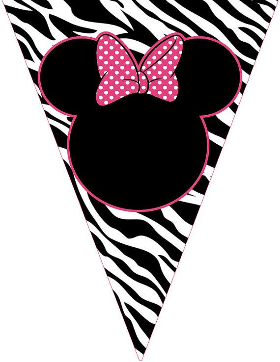 Printable Zebra Minnie Mouse Banner Hy Birthday By Pinkthecat 5 00