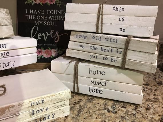 9dd6548be3a35 Farmhouse Books-Personalized Books-Rustic Stamped Books-Set of 4 ...
