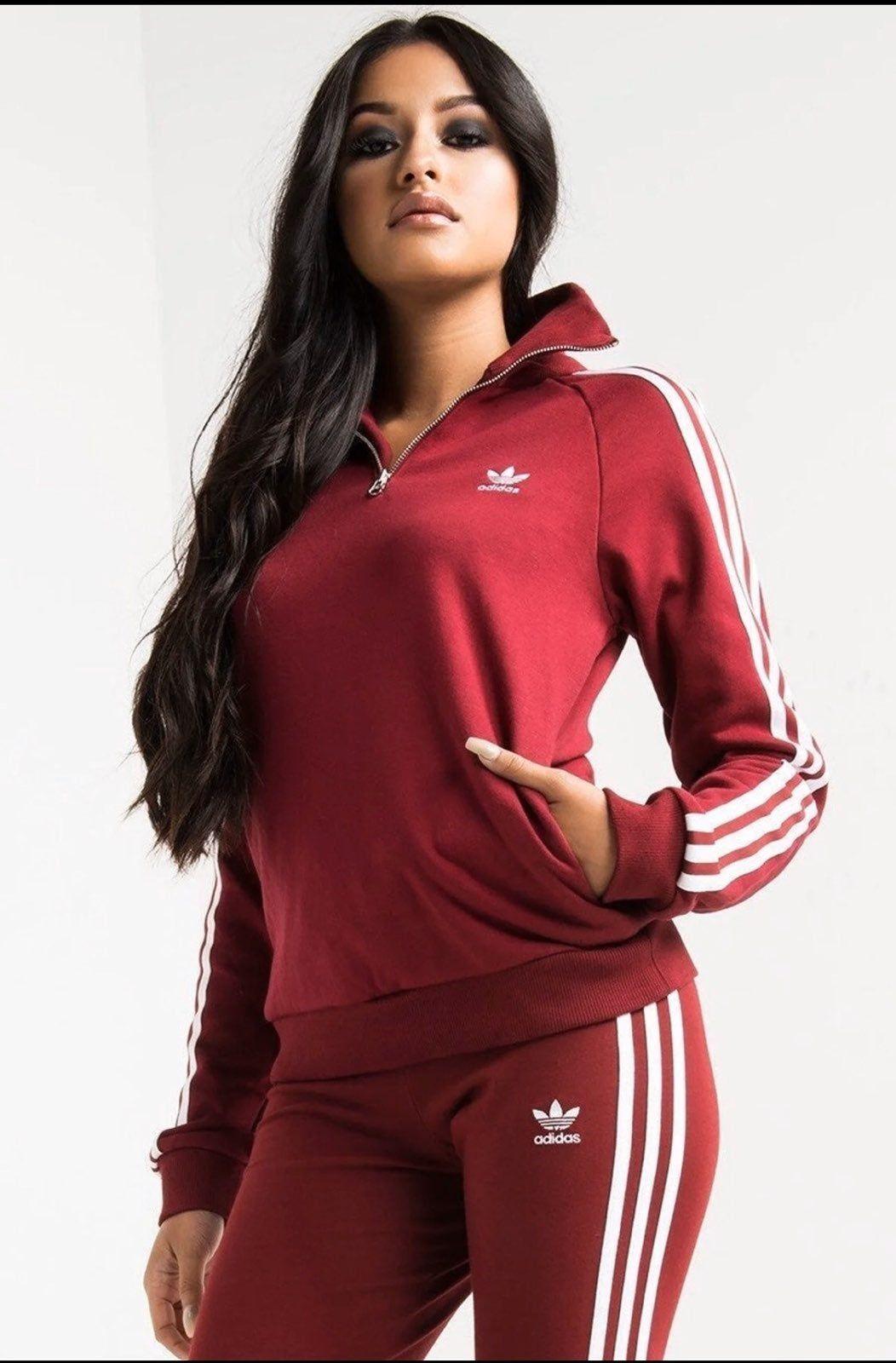Adidas Collared Half Zip Women S Burgundy Sweatshirt Half Zip Sweatshirt Zip Up Pockets On Both Si Adidas Jacket Burgundy Sweatshirt Half Zip Sweatshirt [ 1600 x 1052 Pixel ]