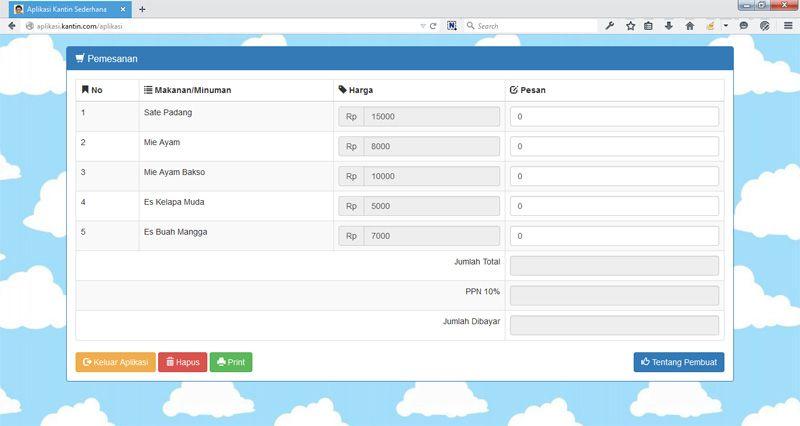 Source Code Aplikasi Kantin Sederhana Menggunakan Php Php Aplikasi Sederhana