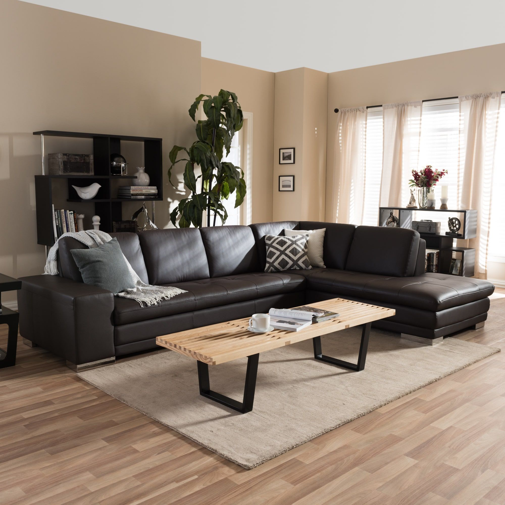 Admirable Larry Dark Brown Sectional Sofa Chaise Set Products Cjindustries Chair Design For Home Cjindustriesco