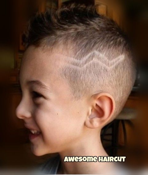 Barber hair cut with a design to match this handsome boys mood classic mohawk type burstie fade with three lines and a razor winobraniefo Images