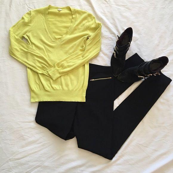J. Crew Neon Yellow V-Neck Sweater 100% cotton J. Crew v-neck neon yellow sweater. Thin sweater, perfect for all seasons! J. Crew Sweaters V-Necks