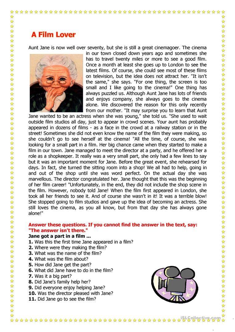 A Film Lover Worksheet Free Esl Printable Worksheets Made By Teachers Reading Comprehension Lessons Reading Comprehension Reading Comprehension Worksheets [ 1079 x 763 Pixel ]