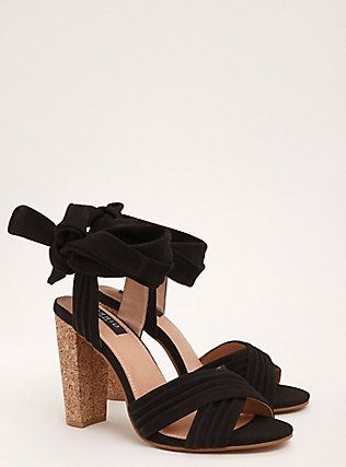 3d17e48a27a Torrid Collection Genuine Suede Wrap Ankle Cork Heels (Wide Width ...