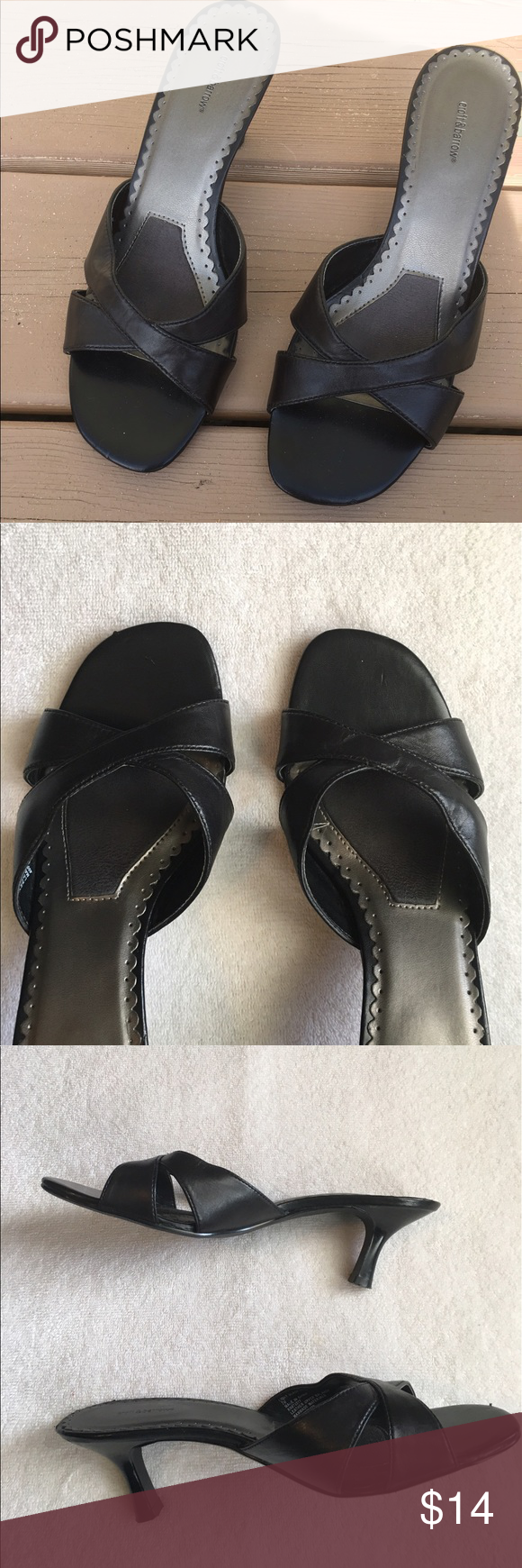 Black sandals size 7 - Black Sandals Size 7 Wide Good Used Condition No Box 2 1