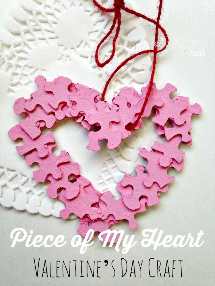 Piece Of My Heart Valentine S Day Craft Autism Awareness Craft