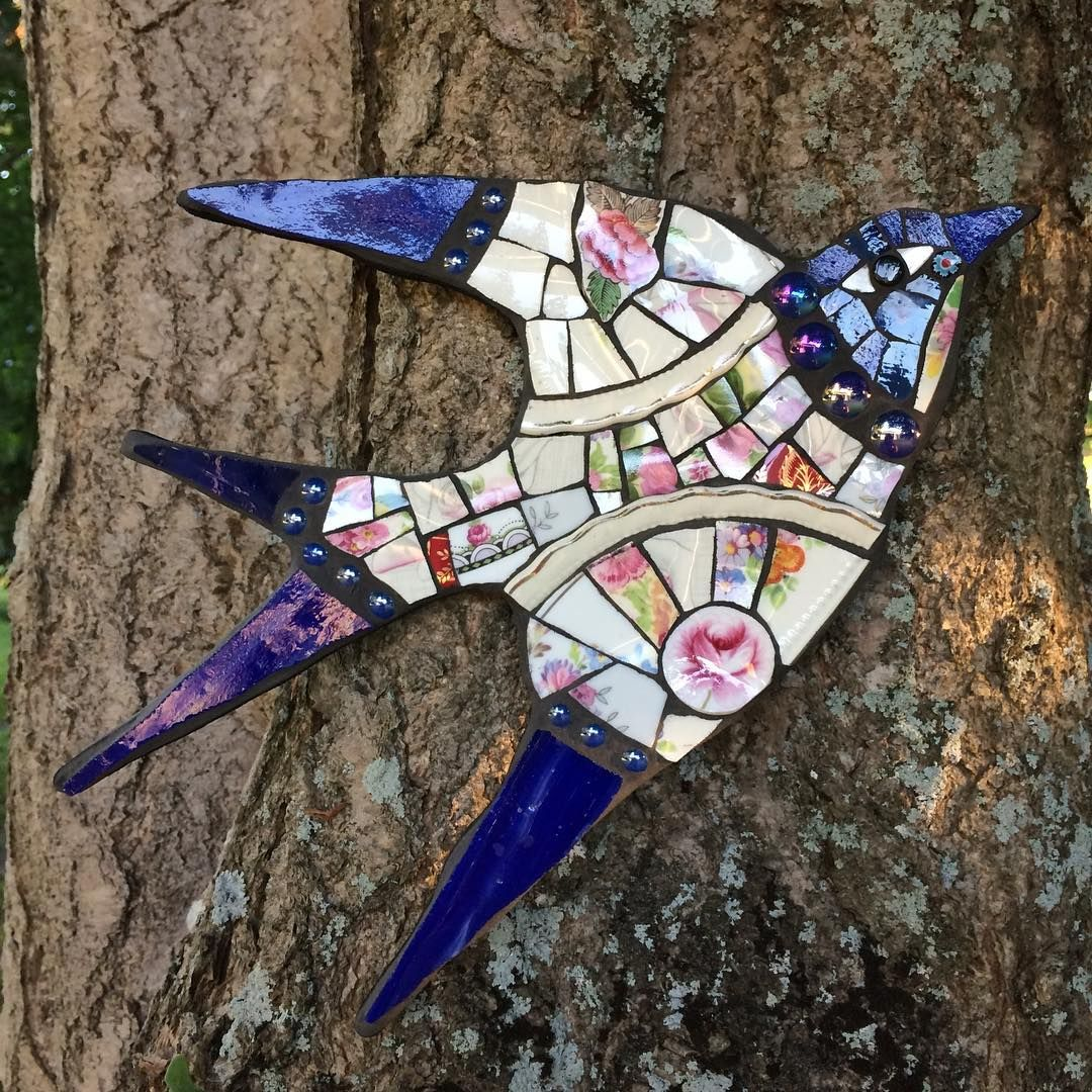 Swallow Mosaics Birds Swallow Recycled