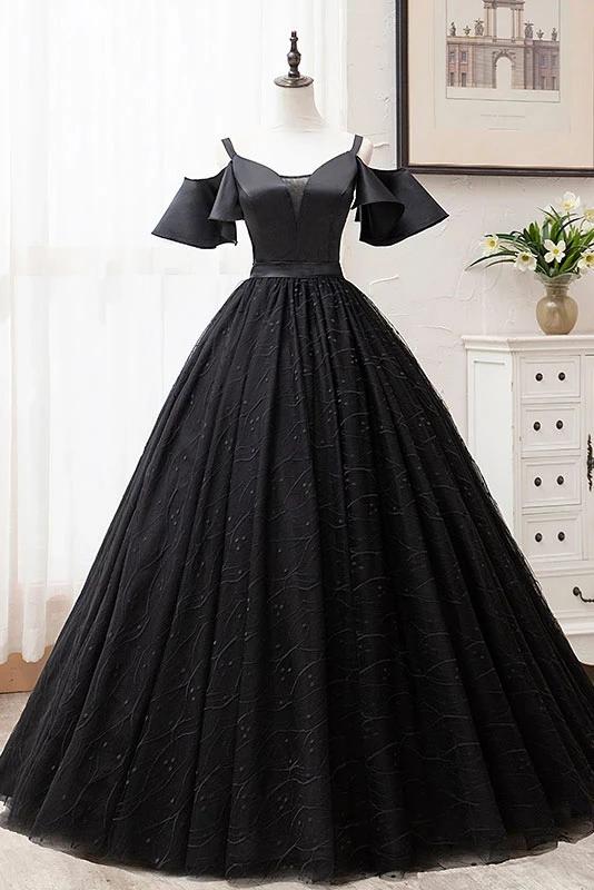 Black Ball Gown Short Sleeves Long Prom Dresses, Floor Length Straps Formal Dresses N2644