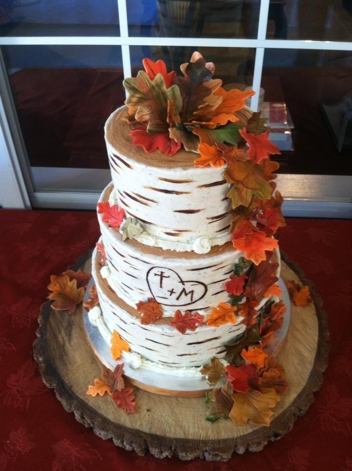 Rustic Autumn Wedding Cake Tree Bark Style FallWedding - Wedding Cake Tree Bark