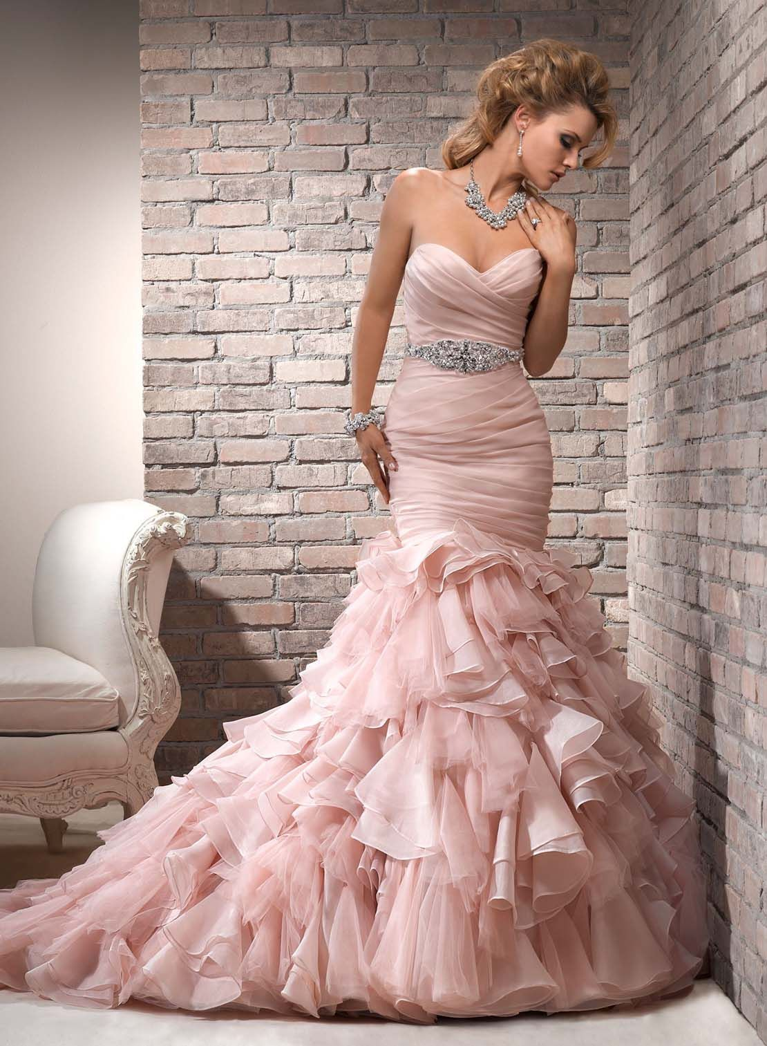 2014 Stylish Organza Silver Beading Ruffles Court Train Sexy Mermaid ...