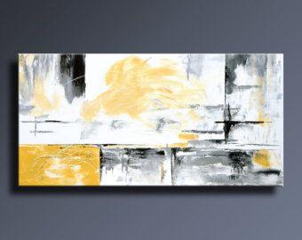 48 large jaune gris noir blanc peinture abstraite sur par itarts