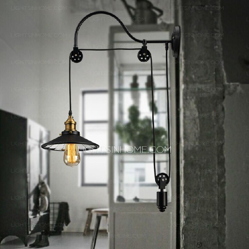 Cheap Industrial Lighting Pulley Shaped Adjustable Wall Sconce