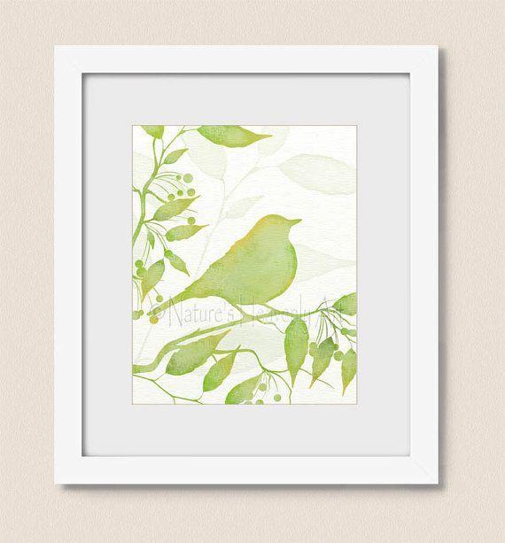 Lime Green Bedroom Decor Bird Art