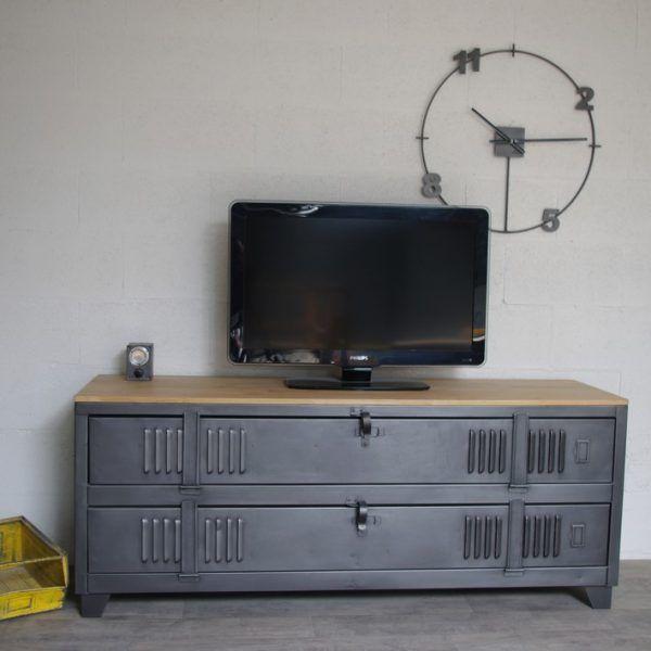 Meuble Tv 180p Loft Industeel Meuble Tv Style Industriel Meuble Tv Industriel Meuble Metal
