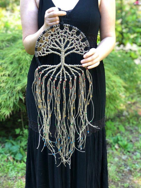 Boho Decor / Wiccan Decor / Macrame Tree of Life Suncatcher / Unique Gift / Christmas Gift / Hemp & Glass Beads on 8 Hoop / Bodhi