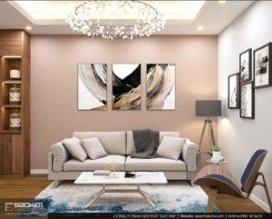 Màu sơn cam đất phớt hồng đã được lựa chọn để sơn nhấn một vài mảng tường của không gian phòng khách. Gam màu này tạo cảm giác đồng điệu với phần sàn nhà. #saokimdecor #livingroom #livingrooms#phòngkhách #リビング #saladeestar #wohnzimmer #salon #interior #interiordesign #interiors #apartment #apartments #chungcư #scandinavian #インテリア#interieur #innenraum #scandinavian