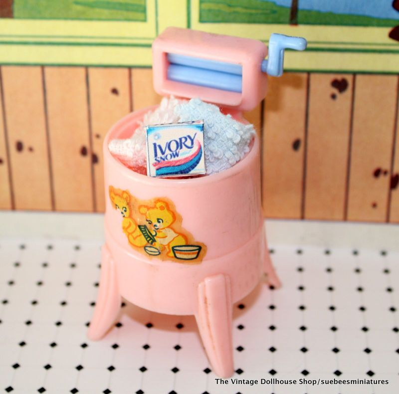 Vintage Tin toy miniature automatic washer enamel Play laundry Doll Dollhouse toy appliance metal washing machine spins