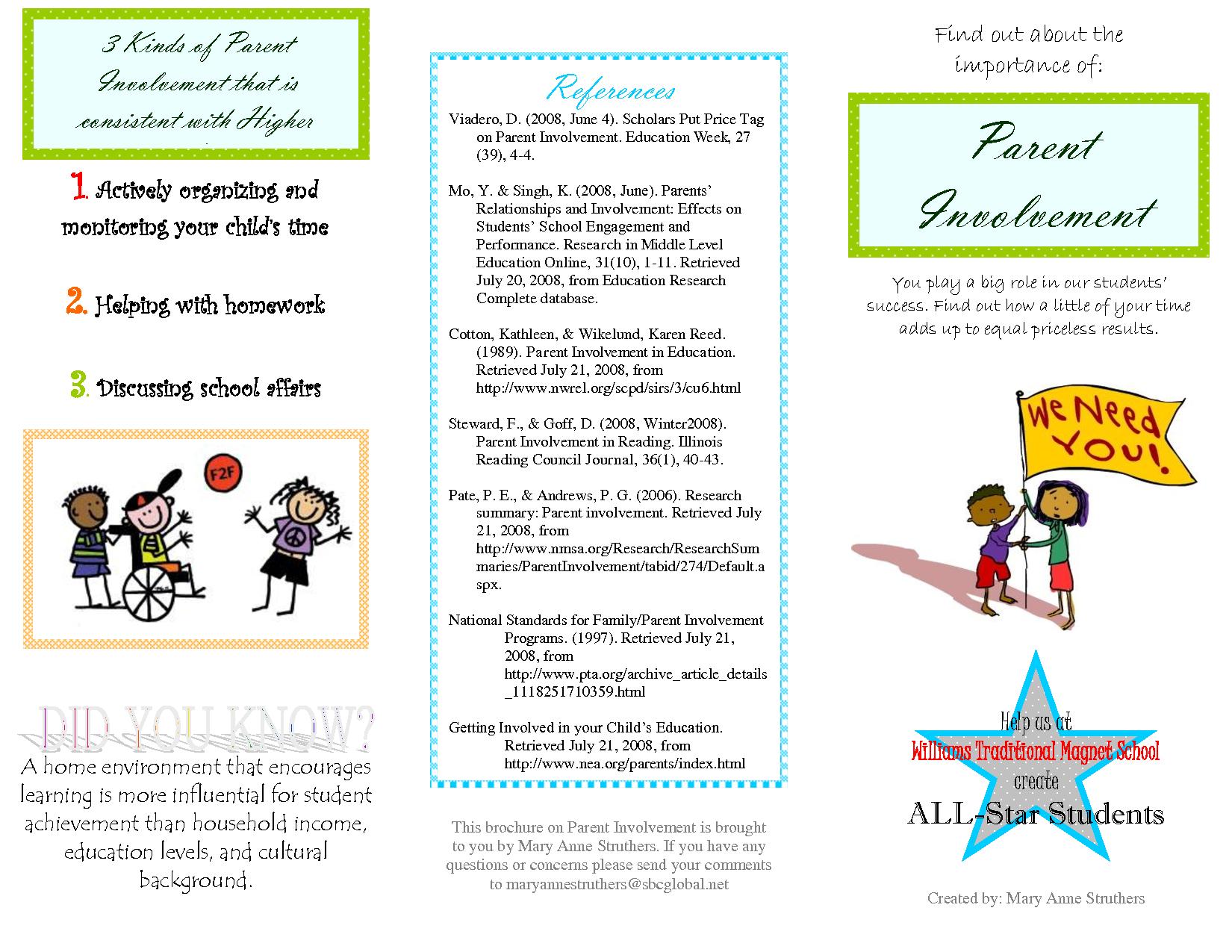 parent brochure templates and earning disabilities parent involvement brochure education