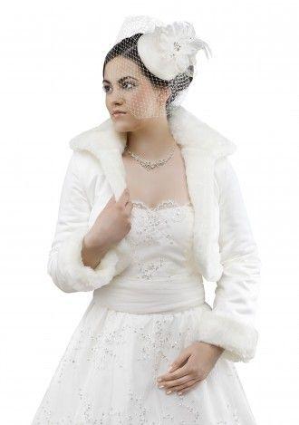 Braut Winter Jacke / Satin-Fell Jacke | Seide und Brautkleider