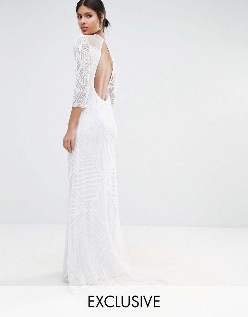 A star is born embellished sheer insert long sleeve maxi dress
