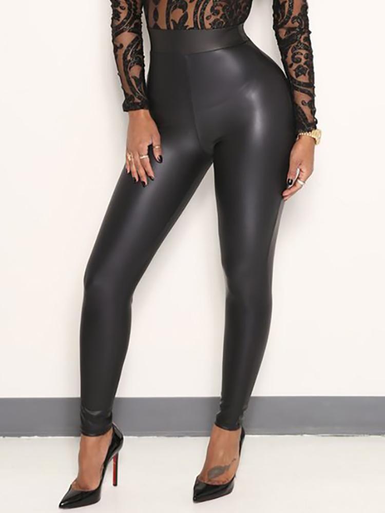 5e62b3dd9a0029 Women High Waist Stretchy Black Faux Leather PU Leggings Pants Tights