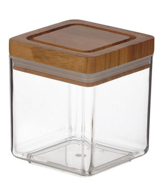 Davis Waddell Square Acrylic Canister With Bamboo Lid 600ml For