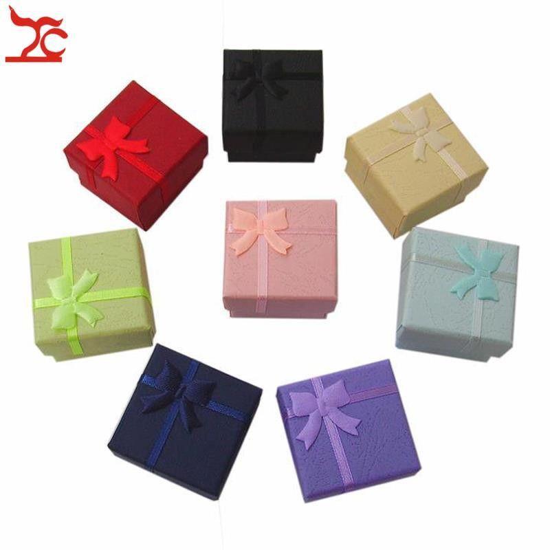 Free Shipping 48pcs Lot Jewelry Storage Paper Box Multi Colors