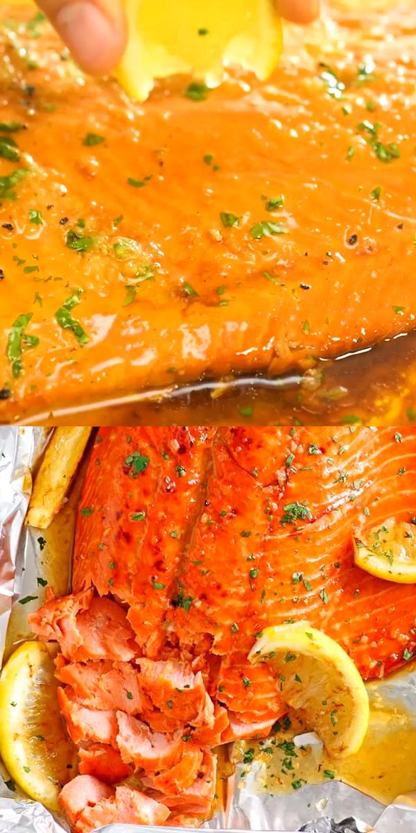 Honey Garlic Salmon in Foil #healthyweeknightmeals
