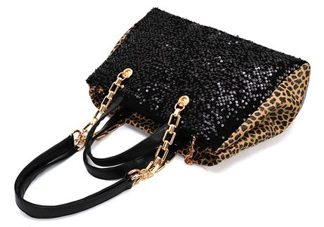 Zipper Sequined Leopard Black PU Satchel Bag