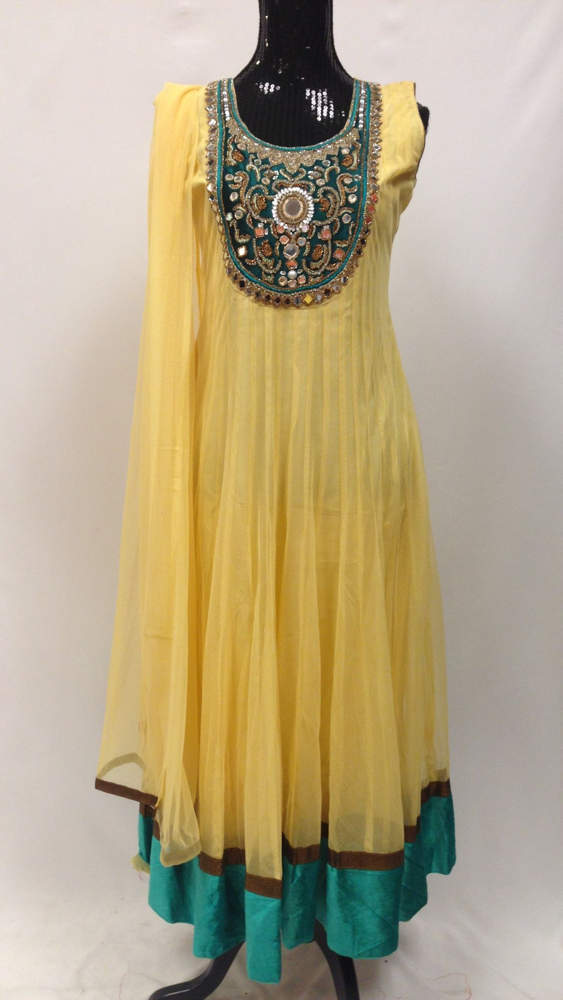 Designer yellow u blue long net anarkali set churidar anarkali