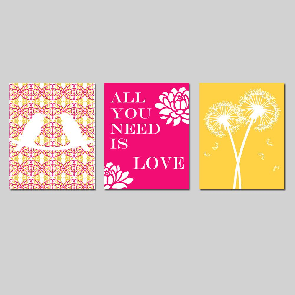 Beatles Quotes Love Nursery Trio  Set Of Three 11X14 Prints  Love Birds Beatles
