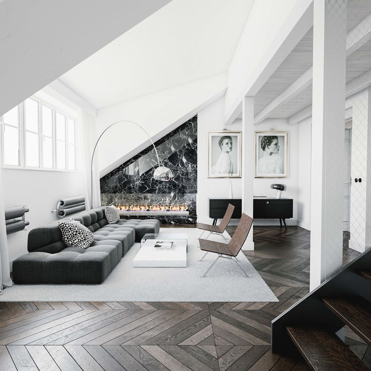 Homedesigning: (via 30 Black & White Living Rooms