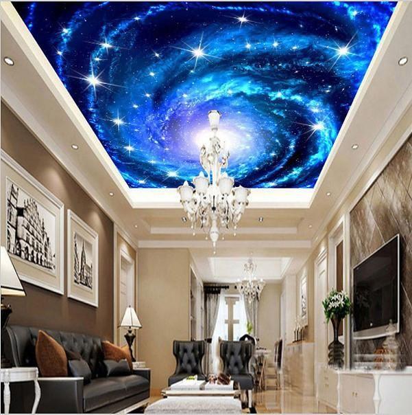 Custom 3d Galaxy Stars Universe Ceiling Wallpaper Home Or Business Beddingandbeyond Club Ceiling Murals Sky Ceiling Wall Wallpaper