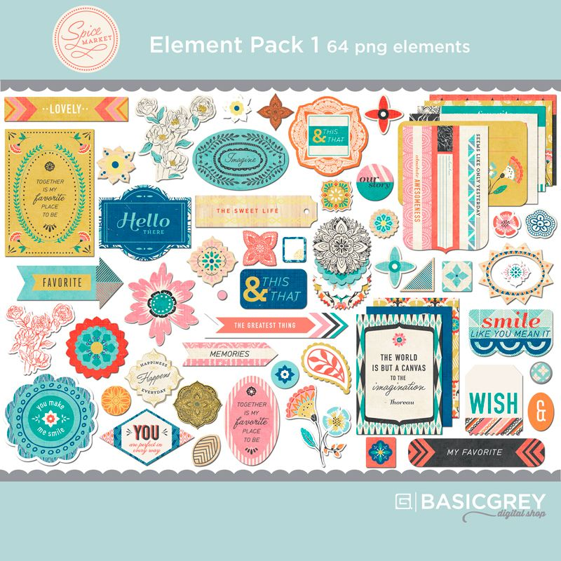 Spice Market Element Pack 1   Printable stickers ...