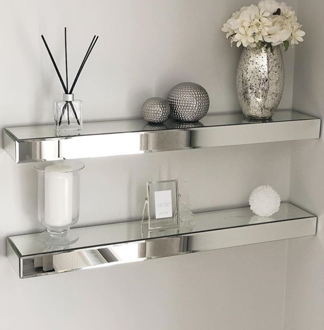 Mirrored Floating Wall Shelf 90cm In 2020 Mirrored Bedroom Furniture Living Room Mirrors Floating Wall Shelves