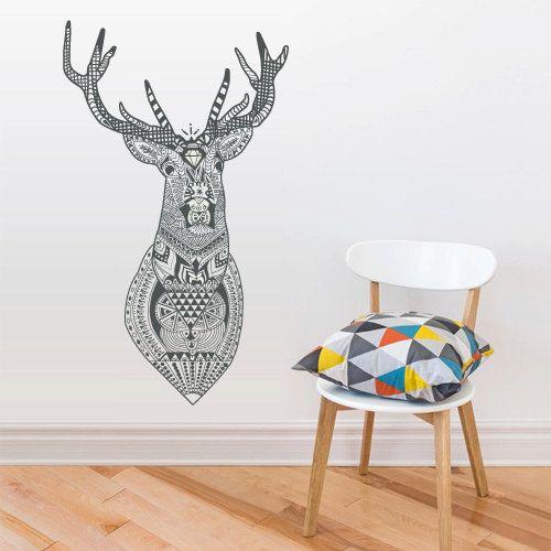 mur vinyle autocollant stickers d cor art chambre design murale ornement mod le cerf wapiti buck. Black Bedroom Furniture Sets. Home Design Ideas