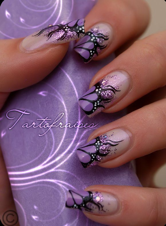 20 ingenious nail art designs purple nails and purple butterfly 20 ingenious nail art designs prinsesfo Image collections