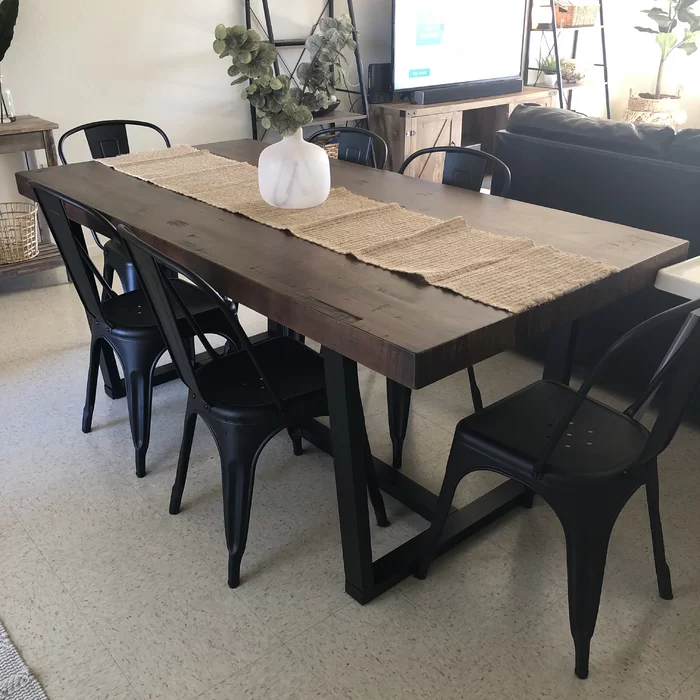 Neely Distressed Solid Wood Dining Table Reviews Allmodern Modern Rustic Dining Table Dining Table In Kitchen Brown Dining Table