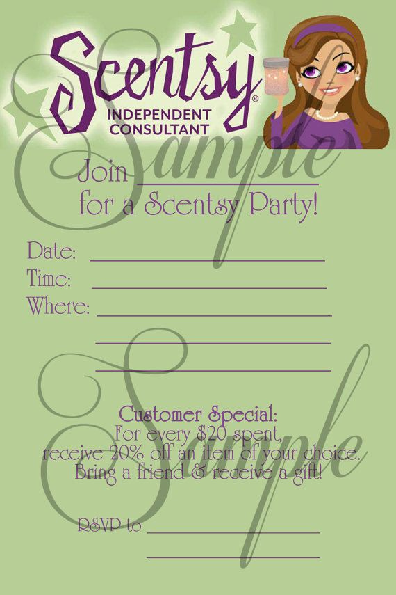 Scentsy Consultant Fill-In Party Invitation Custom (Printable) Jpeg ...