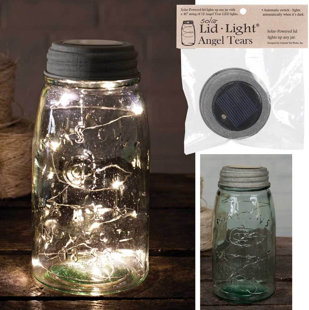 Rustic Brown Mason Canning Fruit Jar HANGING LED SOLAR LID LIGHT Path Walkway