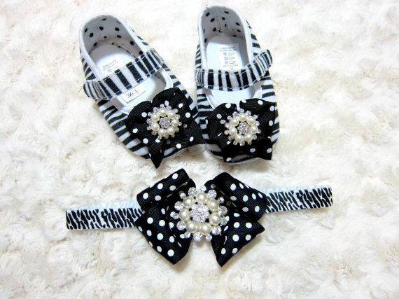 Baby Girl Zebra Print Shoes and Headband Set