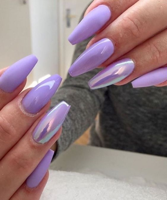55 Acryl Coffin Nails Designs Ideen Lilac Nails Coffin Nails Designs Purple Nails