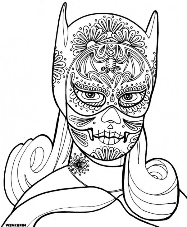 Bat Woman Wearing Mask From Day Of The Dead Coloring Page | fun ...